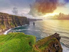 The awe-inspiring Cliffs of Moher, stretching 8 miles along the western Atlantic Coast near the town of Dongal, aren't for the faint of heart; there's no fence between you and the 650-foot drop to the sea below.