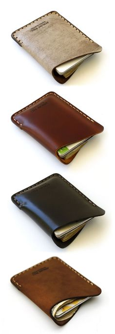 Wave Wallet - minimal single pocket slim leather wallet for men & women in different natural shades Slim Leather Wallet, Leather Card Case, Slim Wallet, Leather Men, Men Wallet, Pink Leather, Crea Cuir, Minimal Wallet, Leather Projects