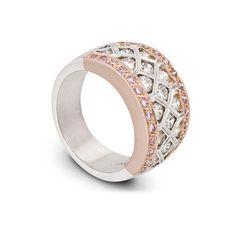 Pink Diamond Ring, Diamond Honeycomb Ring ($8,700) ❤ liked on Polyvore