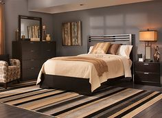 Bring home contemporary style with the Concorde 4-piece king platform bedroom set. Its streamlined, modern look is beautiful in its simplicity—clean lines and a rich dark chocolate finish are enhanced with modest brushed silver drawer pulls, glass tops, and headboard and mirror slats that decorate without overwhelming.