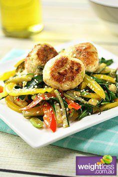 Thai Chicken Meatballs with Vegetables. #HealthyRecipes #DietRecipes #WeightLossRecipes weightloss.com.au