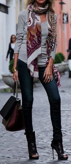 Love Love LOVE! Love the Scarf! Love the Oxblood Bag! Love the Boots! #Black #High_Heels #Oxblood #Fashion #Accessories #Street #Style
