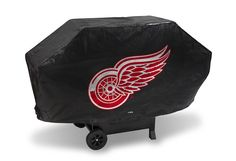 DETROIT RED WINGS DELUXE GRILL COVER-(Black Background)