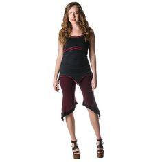 Cotton Lycra 3/4 Solid Two Tone Rollover Pants | DE210 | Jedzebel
