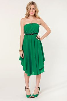 Cute Strapless Dress - Green Dress - Midi Dress - $47.00