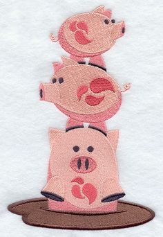 Pig Stack Embroidered Decorative Linen By Embroideredbysue 16 99