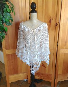 Romantic Butterfly Crochet Lace Poncho Summer  Ivory White Layering Wrap Honey Girl Up Cycled Altered Couture