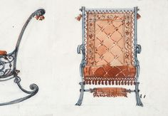 Antique Sketch of Chair Design by Master by VintageToLiveBy, $40.00
