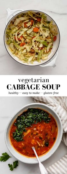 This Vegetarian Cabbage Soup has a base of onions, garlic, carrots, celery and tomato paste - it's healthy, delicious, and easy to make! #cabbagesoup #cabbagediet #vegetariansoup #healthysoups
