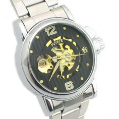 Black + gold waterproof automatic mechanical watches