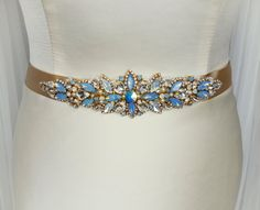 Unique Blue belt, Gold bridal belt, Handmade, Wedding dress belt, Bridal belt, wedding belt, bridal sash, blue sash, Cornflower Blue Amazing gold pearls and gold plated rhinestone chain and blue opal stones, white opal