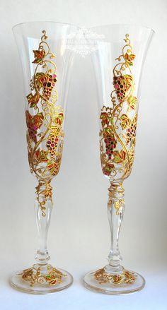 Wedding glasses Personalized Champagne glasses от RomanticArtGlass