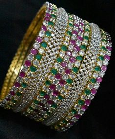 Items similar to Beautiful diamond finished bangles combo on Etsy Kundan Bangles, Bridal Bangles, Silver Bangles, Hand Work Embroidery, Indian Embroidery, Embroidery Designs, Designer Silver Jewellery, Gold Jewelry, Silk Thread Bangles Design