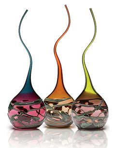 'Goccia' Glass Art Sculptures: Artist - Victor Chiarizia: Avail @ www.artfulhome.com. Blown Glass, Sinuous & Swan-like, intricate tapestries of opaque colour wrap around ea. piece, creating intriguing patterns & shadows. Sold individually $660.00 w' each being Unique! Height & Pattern will vary (29'H x 8'W x 5'D approx.) <3<3<3GORGEOUS<3<3<3 @