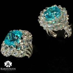 The Paraiba blue is my favourite shade of blue, and these two rings are my all time favourite designs set with rarest Paraiba Tourmalines! @karen.suen #KarenSuenFineJewellery #Designer #BespokeJewels
