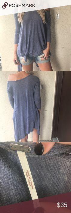 Blue thermal free People tunic Cute blue thermal handkerchief hem tunic top. Lightweight style. Free People brand Free People Tops Tunics