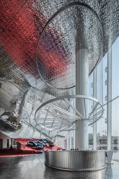Image 11 of 16 from gallery of 15 Projects of Steel Stealing the Show. Photograph by Ligang Huang Guangzhou, Lobby Interior, Interior Design, Sales Office, Lobby Design, Building Facade, Property Development, Hotel Lobby, Lounge Areas