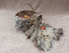 Flokati Curly Fur Rug Mat Cats Pet Blanket Fleece Real Wool Hand Felted Brown Large by Feltfur RTS