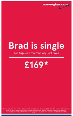 Brad Is Single | Viral Simple Typographic Advert for Airline | Award-winning Tactical Press Advertising | D&AD