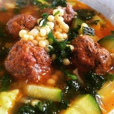 This soup is the epitome of comfort. The spices add a distinct warmth while the meatballs and couscous fill you up. It isn't too heavy which is something I love about this recipe. It's on the broth...