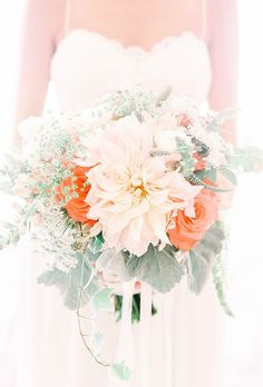 Featured Photographer: Kay English; Chic peach and orange wedding bouquet with elegant green detail