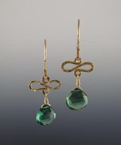 jewelry image of Style: 82621 Limited Edition: Green Nano Quartz faceted Briolette hangs from single hand-hammered gold-filled wave. Hand-hammered ear wires. Earring Dimensions: Length: 1 3/4