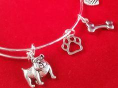 English Bulldog Charm Bangle Bracelet