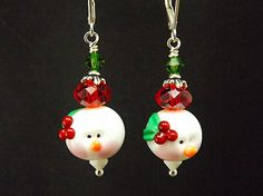 Snowgirl Christmas Earrings, Snowgals, Lampwork and Crystal beaded earrings, TPMB