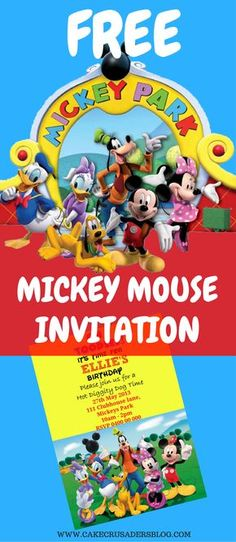 A Homemade DIY Free Mickey Mouse invitation printable template . Great for your kids 1st birthday. Using Picmonkey online software