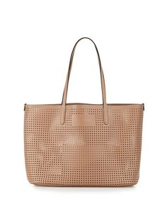 Metropolitote+Perforated+Tote+Bag,+Dark+Buff+by+MARC+by+Marc+Jacobs+at+Neiman+Marcus.