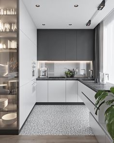 Modern Kitchen Interior These minimalist kitchen ideas are equal components calm and trendy. Find the very best concepts for your minimalist style kitchen that matches your taste. Search for impressive images of minimalist design kitchen for inspiration. Grey Kitchen Designs, Luxury Kitchen Design, Kitchen Room Design, Kitchen Cabinet Design, Kitchen Layout, Home Decor Kitchen, Interior Design Kitchen, Home Kitchens, Kitchen Ideas