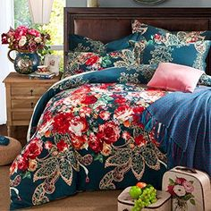 Sisbay Bohemian Paisley Bedding,Boho Luxury Sanding Duvet Cover,Girls Fashion Wedding Bedding,Queen King by N/A Bedding Master Bedroom, King Comforter Sets, Bedroom Decor, Designer Bed Sheets, Turquoise Bedding, Paisley Bedding, Boho Chic, Bed Cushions, Bed Styling