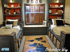 Love this idea for upstairs guest bedroom (currently gym) for my grandchildren's room.  Would not make it nautical themed, just neutral with black painted beds/bookcases/built-ins.