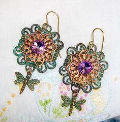 "Handmade FILIGREE EARRINGS - ""Imagination's Garden"" - Vintage Layered Copper & Patina Filigrees,  Vitrail Rivoli, Bohemian Flowers"
