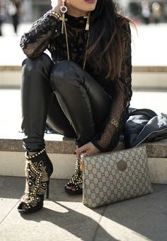 vintage gucci... lace top, leather pant, gaudy boot, cherry on top is that Gucci bag! Have Mercy!