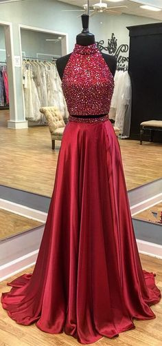 2017 two piece long prom dress, red long prom dress, two piece long prom dress, backless prom dress