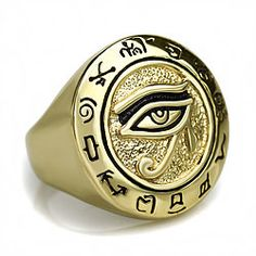 Mens Egyptian Eye of Horus Ra Talisman Gold Ring Available at https://www.witchesofthecrafts.net/rings