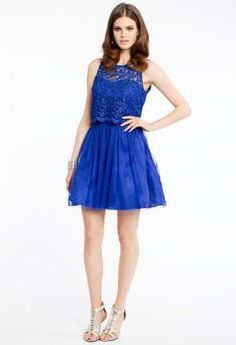 Short Lace Dress with Key Hole Back   Camillelavie.com #dresses #blue #fashion #style #camillelavie