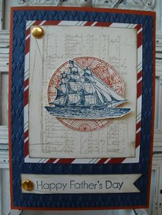 All Products Stampin' Up! - Fathers Day Card - The Open Sea Stamp Set; Argyle Embossing Folder; Cajun Craze, Night Of Navy and Very Vanilla Card Stock; Be Of Good Cheer Paper (2012 Xmas Paper)
