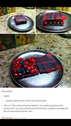 Fruit gummy or candy sandwich