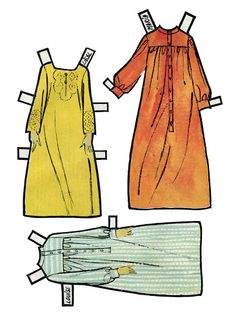Sound of Music   Maria's and two of the children's night gowns *Paper doll clothes