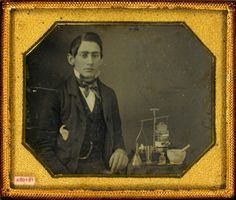 ca. 1850's, [daguerreotype portrait of a young chemist with tools] via the Daguerreian Society, Matthew R. Isenburg Collection