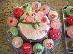 Owl Theme - A smash cake and cupcakes I created for little Sophia's 1st birthday! ( this is cute idea for Hadlie's party)