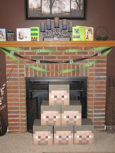 Minecraft Birthday Party - GREAT Ideas - decorations, food, etc. Minecraft Party, Minecraft Room, Minecraft Ideas, Minecraft Mask, Minecraft Stuff, 9th Birthday Parties, Happy Birthday, Birthday Ideas, Ideas Party