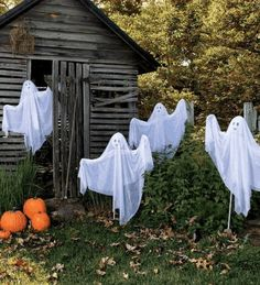 Halloween Outdoor Decor/ A group of ghosts to decorate the yard: Pipe, metal coat hangers, dollar store white/off white shower curtain,  spray paint eyes. Use up lights to add to spooky feel