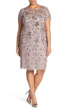 Plus Size Womens Adrianna Papell Beaded Short Sleeve Sheath Dress Size 16W - Beige $167.40 AT vintagedancer.com