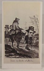 1865 Civil War Political Editorial Cartoon of Jefferson Davis Fleeing Richmond | eBay