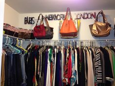 Ideas for for hanging purses in your closet!