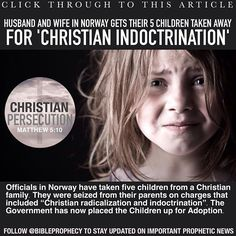 """CLICK THROUGH TO THIS ARTICLE:""""Norway Officials Place Children Seized From Parents Over 'Christian Indoctrination' Up for Adoption"""" ................................... http://goo.gl/3sUPEv ............................................. For direct link to the video go to our twitter account which is https://twitter.com/Godsprophecynow for a direct link to our twitter account……… its in our bio, Or Email us at Godsprophecynow@gmail.com and we will send you the link.  #BibleProphecy #WorldNews…"""