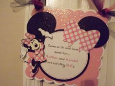 Minnie Mouse birthday party door sign by SavyJax on Etsy, $12.00